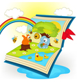 magic book animals in the glade vector image