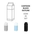 milk box icon cartoon single bio eco organic vector image