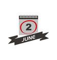 2 june calendar with ribbon vector image