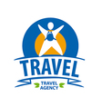Round logo tourist with a backpack vector image vector image