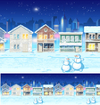Winter suburb at night vector image
