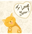 Cute romantic card with tender cat who licks the vector image