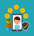 mobile phone man cartoon with bitcoin protection vector image