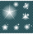 Set of Glowing Light Stars with Sparkles vector image