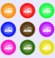 taxi icon sign A set of nine different colored vector image