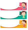 Label design with kids and speech bubbles vector image vector image