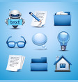 web icon-blue set vector image