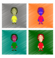 assembly flat shading style icon zombie woman vector image