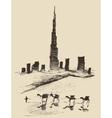 Caravan of Camels Dubai City Skyline Silhouette vector image