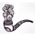 Hand drawn ornate tobacco pipe smoke coming out vector image
