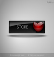 Black business button with red heart design vector image