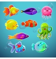Funny cartoon colorful tropic fishes set vector image