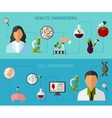 Biotechnology Colored Banners Set vector image vector image