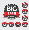 Big Sale tags with Sale up to 30 - 90 percent text vector image