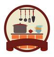 circular emblem with ribbon and kitchen set vector image