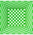 Green and white chessboard walls room background vector image