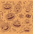 halloween seamless pattern with cute pumpkins vector image