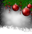 Red Christmas decoration on grey background vector image