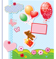 frame with balloons and bear vector image vector image