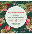 Vintage poinsettia christmas invitation card vector