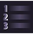 Three steps on dark background vector image vector image