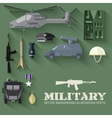 Army concept of military equipment flat icons vector image