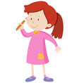 Little girl holding a pencil vector image