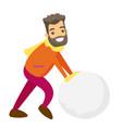 caucasian man making a big snowball for snowman vector image