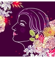 girl and flower vector image