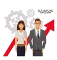 teamwork people business growth chart gears vector image