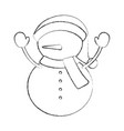 cute snowman icon vector image