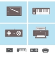 Computer peripheral devices icons vector image