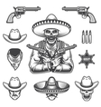 Set of sheriff and bandit elements vector image