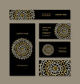 business cards collection golden mandala design vector image