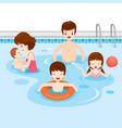 family relaxing in swimming pool vector image