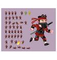 red ninja flat cartoon game character sprite vector image
