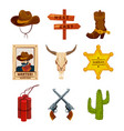 wild west collection icons western vector image