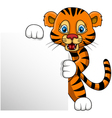 cute young tiger cartoon with blank sign vector image vector image