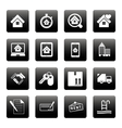 Real estate icons on black squares vector image vector image