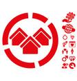 realty diagram icon with valentine bonus vector image