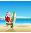 surf santa on the beach vector image
