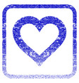 valentine heart framed textured icon vector image