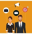man and woman business employee teamwork icons vector image
