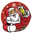 Santa claus enjoy a glass of beer vector image