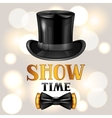 Show time card with cylinder and bow tie vector image
