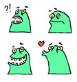 green monster emoticons setfunny cartoon cool vector image