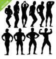 Bodybuilding silhouettes vector image vector image