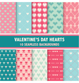 10 Valentines Day Heart Patterns vector image