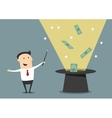Wizard businessman with magic hat and money vector image vector image