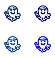 Set of paper stickers on white background octopus vector image